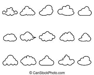 black cloud outline icons set