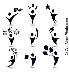 Isolated black color abstract human body silhouette logos set, business,education, holiday party symbols vector illustrations on white background.
