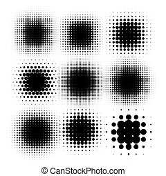 Isolated black color abstract round shape halftone dotted logo set, dots decorative elements collection vector illustration