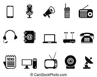 black communication device icons