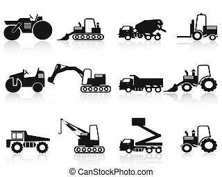 black Construction Vehicles icons set - isolated black...