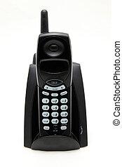 isolated black cordless phone on white