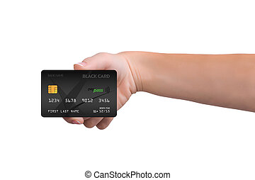 Isolated black credit card in woman hand