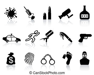 crime icons set - isolated black crime icons set from white...