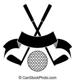 black crossed golf ball logo