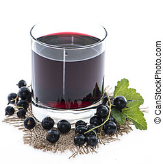Isolated Black Currant juice - Glass with Black Currant...