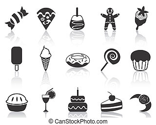 dessert icons set - isolated black dessert icons set from...