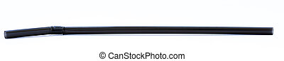 Isolated Black Drinking Straw - A black drinking straw...
