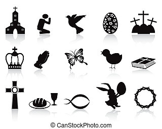 black easter icons set - isolated black easter icons set on ...