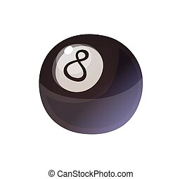 Isolated black eight ball, billiard game, vector