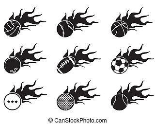 isolated black fire ball icons from white background