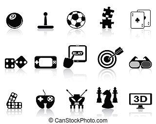 isolated black fun game icons set on white background