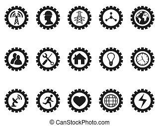 black gear concept icons set