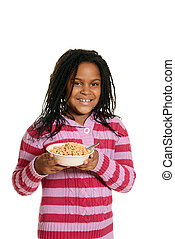 isolated black girl hold bowl of cereal