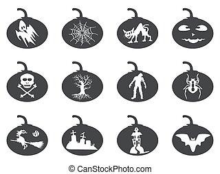 halloween lantern icons set
