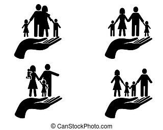 black hand holding family icons set