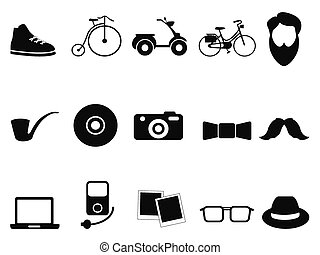 black hipster icons set