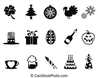 holiday and event icons set