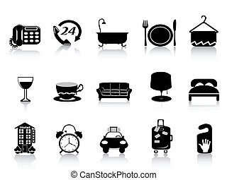 black hotel icons - isolated black hotel icons set on white...