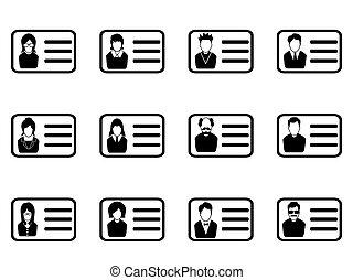 id card head icon set