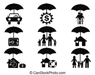 insurance icons set with umbrella