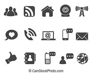 black internet communication icons set