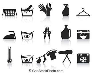 isolated black laundry icons set on white background