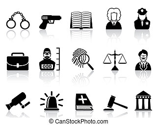 Law and Justice icons set - isolated black Law and Justice ...
