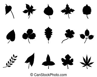 isolated black leaves Silhouettes set from white background