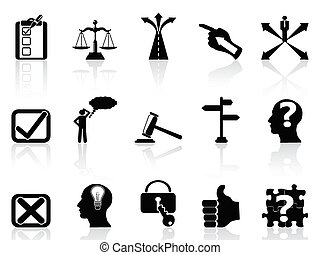 life decisions icons set - isolated black life decisions...