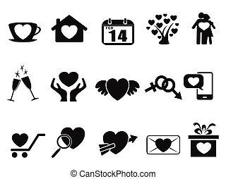black Love valentine day icons set