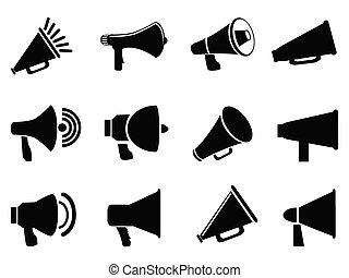 megaphone icons - isolated black megaphone icons from white...