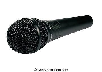 A closeup of a black microphone isolated against a white background.
