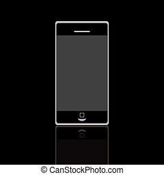 Isolated black mobile phone