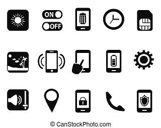 mobile setting icons set