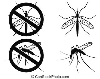 Mosquitoes warning symbol - isolated black Mosquitoes...