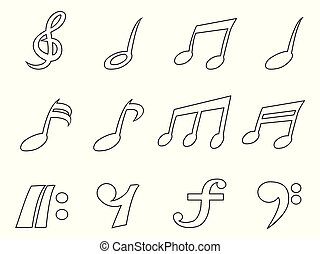 isolated black music note outline icons set