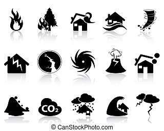Natural disaster icons set - isolated black Natural disaster...