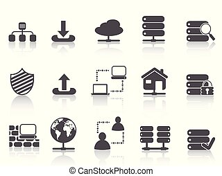 black network server hosting icons set