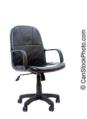 office chair black leather, isolated on white background