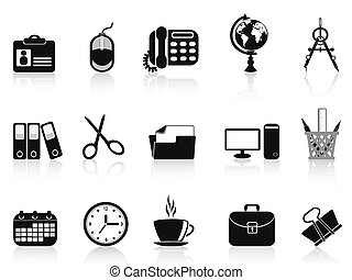 black office tools icon set