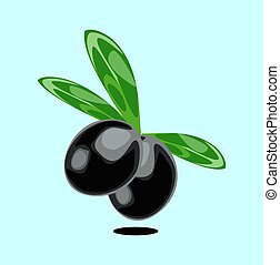Isolated black olives with leaves vector illustration