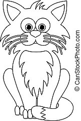 Isolated black outline cartoon sitting cat on white background. Curve lines. Page of coloring book. Halloween illustration.