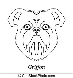 Isolated black outline head of brussels, belgian griffon on white background. Line cartoon breed dog portrait.