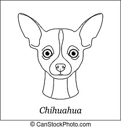 Isolated black outline head of chihuahua on white background. Line cartoon breed dog portrait.