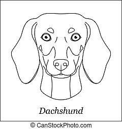 Isolated black outline head of dachshund on white background. Line cartoon breed dog portrait.