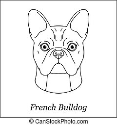 Isolated black outline head of french bulldog on white background. Line cartoon breed dog portrait.