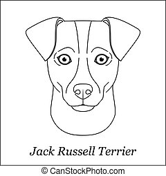 Isolated black outline head of jack russell terrier on white background. Line cartoon breed dog portrait.