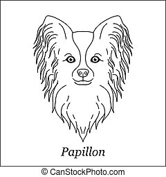 Isolated black outline head of papillon on white background. Line cartoon breed dog portrait.