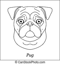 Isolated black outline head of pug dog, mops on white background. Line cartoon breed dog portrait.